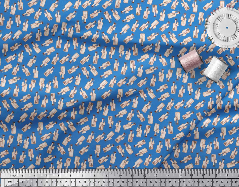 Soimoi-Blue-Cotton-Poplin-Fabric-Hedgehog-amp-Bottle-Artistic-Fabric-mle thumbnail 4