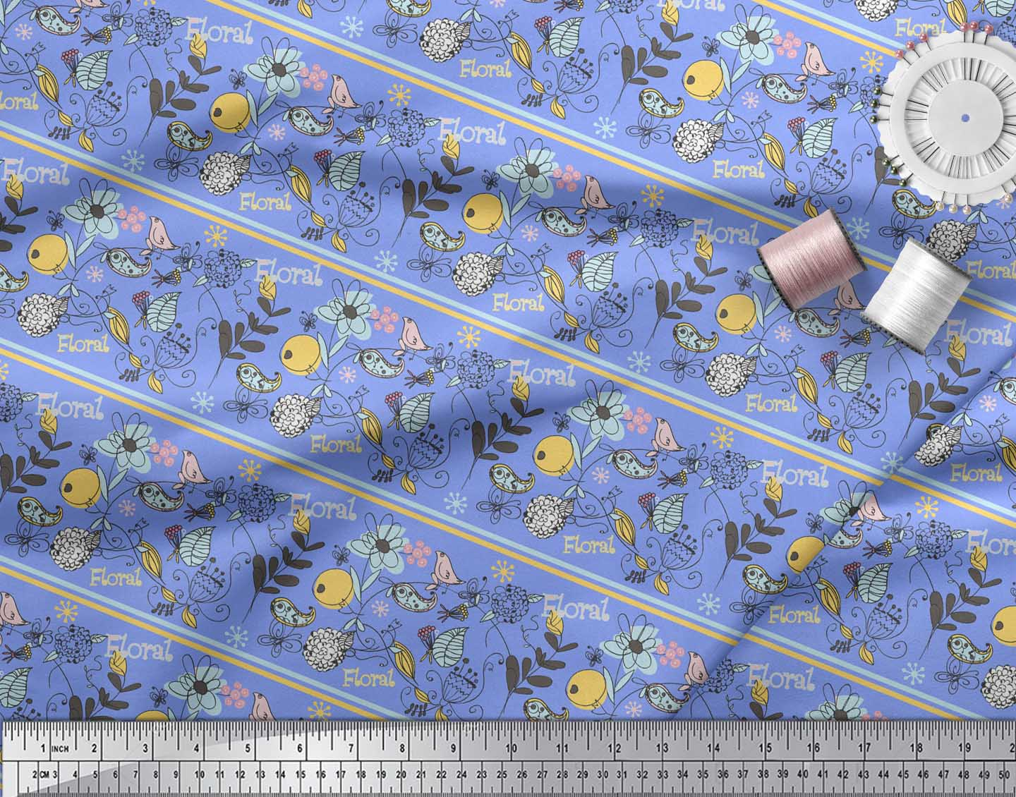 Soimoi-Blue-Cotton-Poplin-Fabric-Stripe-Floral-amp-Bird-Artistic-Printed-ISE thumbnail 3