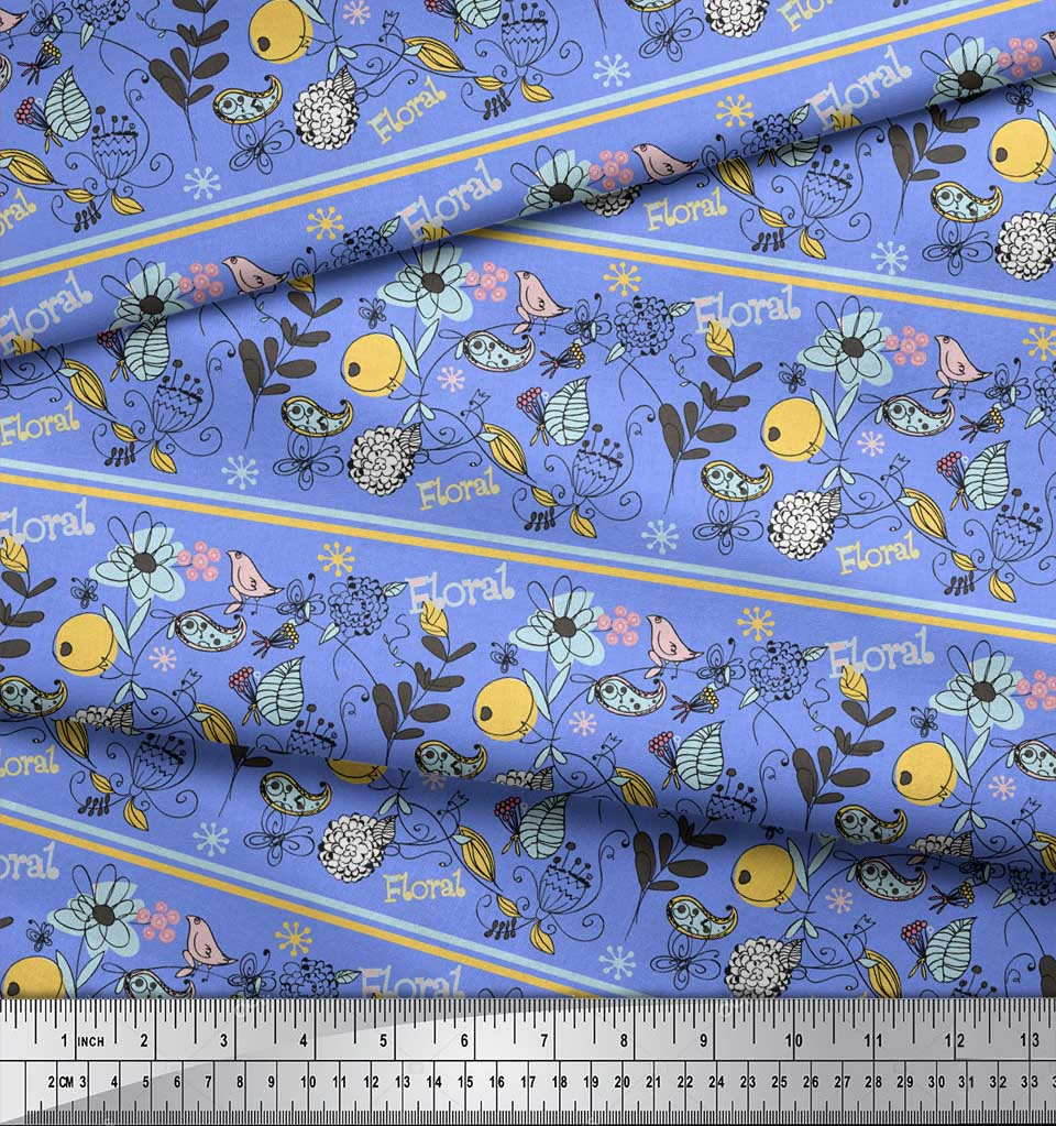Soimoi-Blue-Cotton-Poplin-Fabric-Stripe-Floral-amp-Bird-Artistic-Printed-ISE thumbnail 4