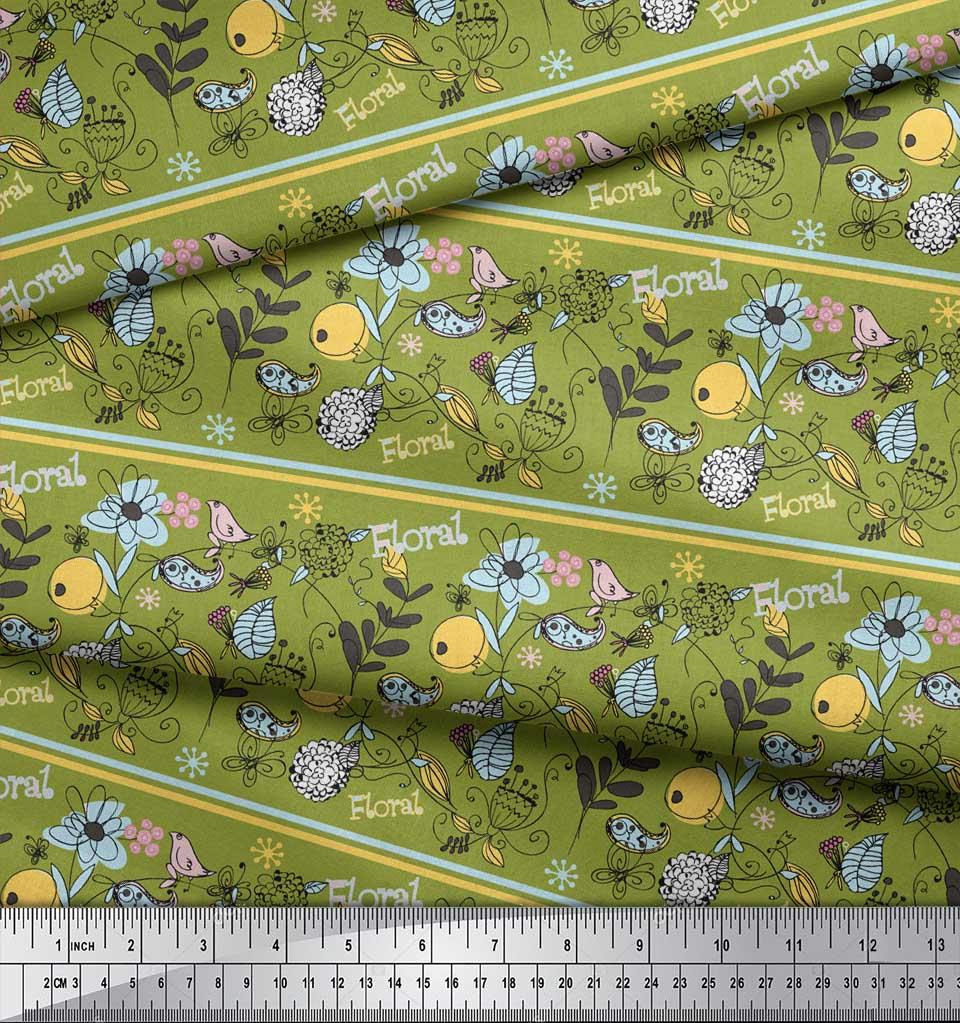 Soimoi-Green-Cotton-Poplin-Fabric-Stripe-Floral-amp-Bird-Artistic-eXh thumbnail 3