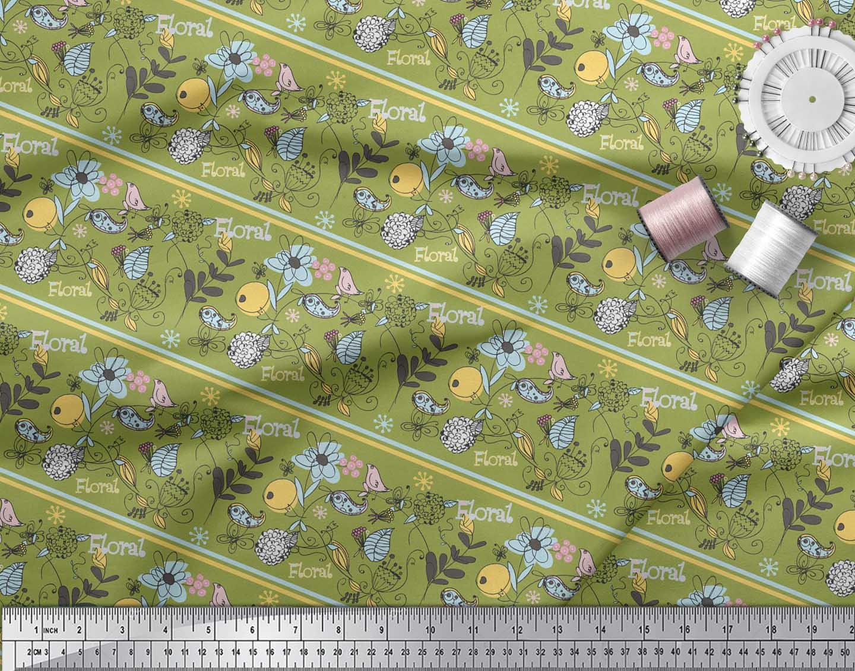 Soimoi-Green-Cotton-Poplin-Fabric-Stripe-Floral-amp-Bird-Artistic-eXh thumbnail 4