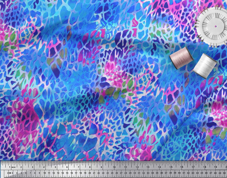 Soimoi-Blue-Cotton-Poplin-Fabric-Leopard-Animal-Skin-Print-Sewing-4eq thumbnail 3