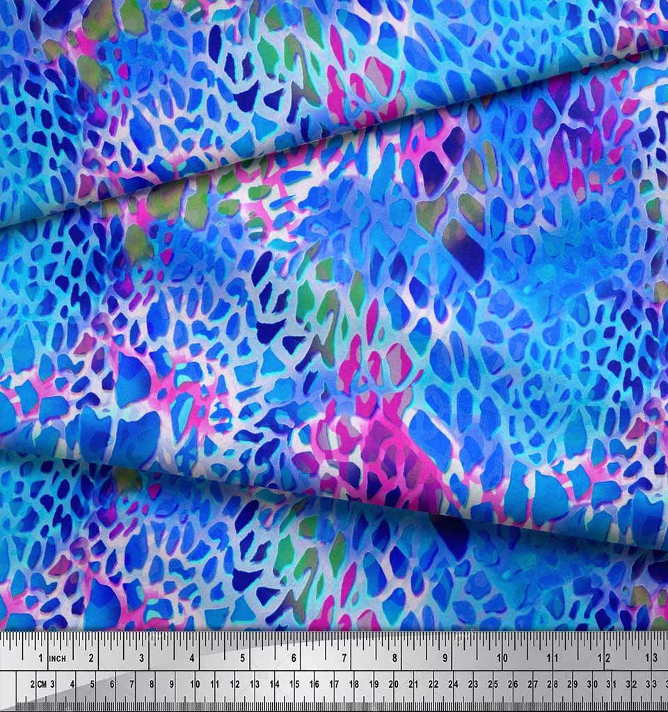 Soimoi-Blue-Cotton-Poplin-Fabric-Leopard-Animal-Skin-Print-Sewing-4eq thumbnail 4