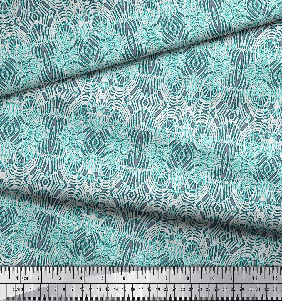 Soimoi-Green-Cotton-Poplin-Fabric-Leopard-Animal-Skin-Print-Fabric-M1d thumbnail 3