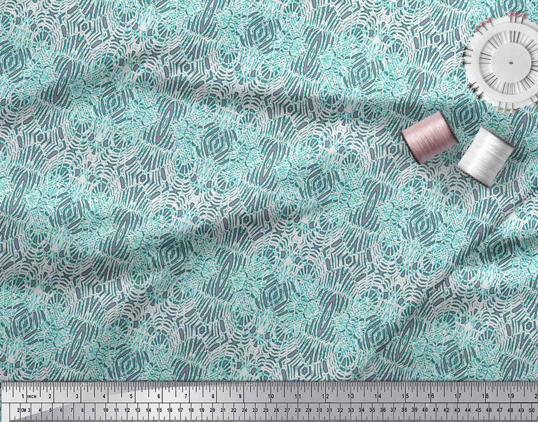 Soimoi-Green-Cotton-Poplin-Fabric-Leopard-Animal-Skin-Print-Fabric-M1d thumbnail 4