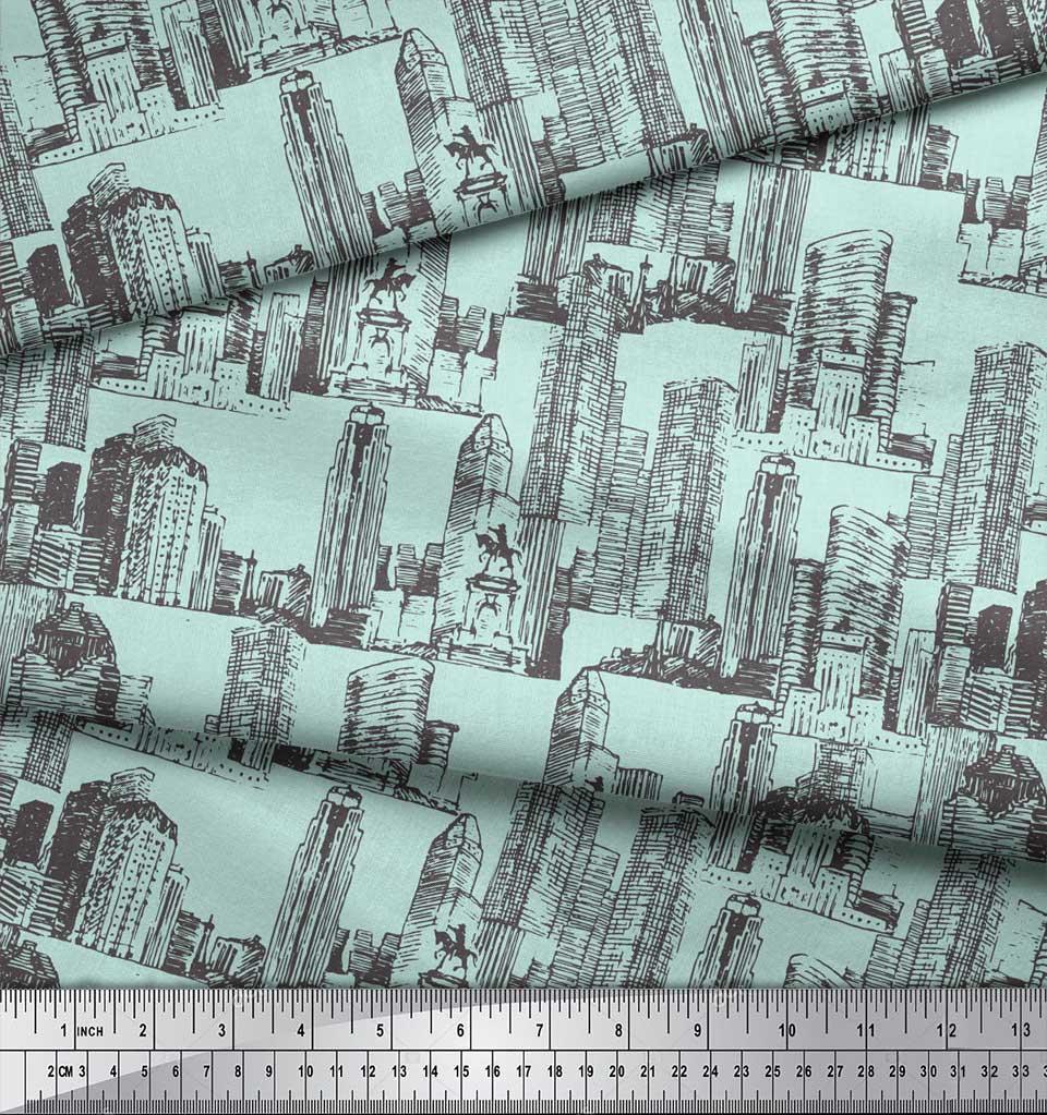 Soimoi-Green-Cotton-Poplin-Fabric-Buildings-Architectural-Printed-rqU thumbnail 3