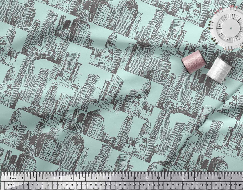 Soimoi-Green-Cotton-Poplin-Fabric-Buildings-Architectural-Printed-rqU thumbnail 4