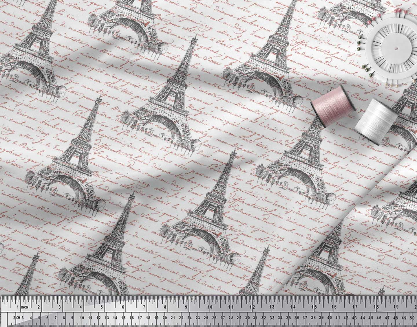 Soimoi-White-Cotton-Poplin-Fabric-Text-amp-Eiffel-Tower-Architectural-phj thumbnail 3