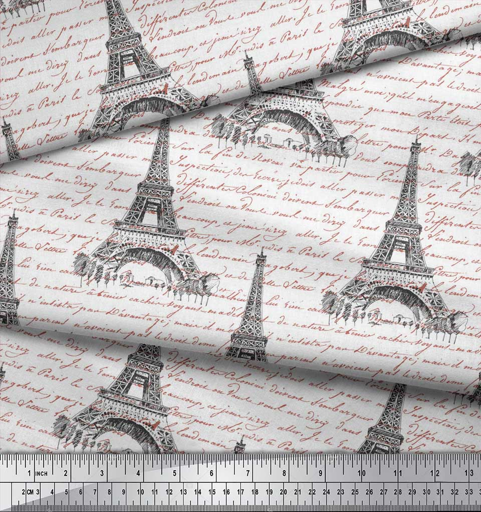 Soimoi-White-Cotton-Poplin-Fabric-Text-amp-Eiffel-Tower-Architectural-phj thumbnail 4