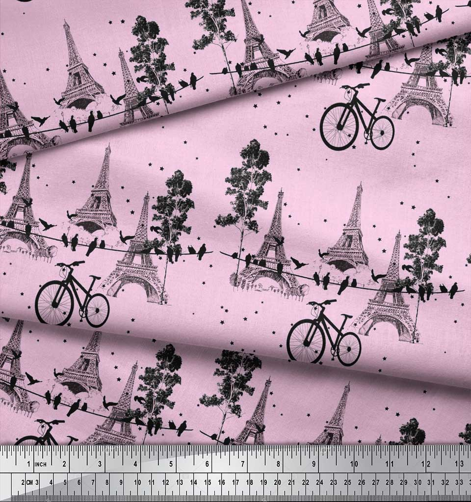 Soimoi-Pink-Cotton-Poplin-Fabric-Bicycle-amp-Eiffel-Tower-Architectural-JEe thumbnail 4
