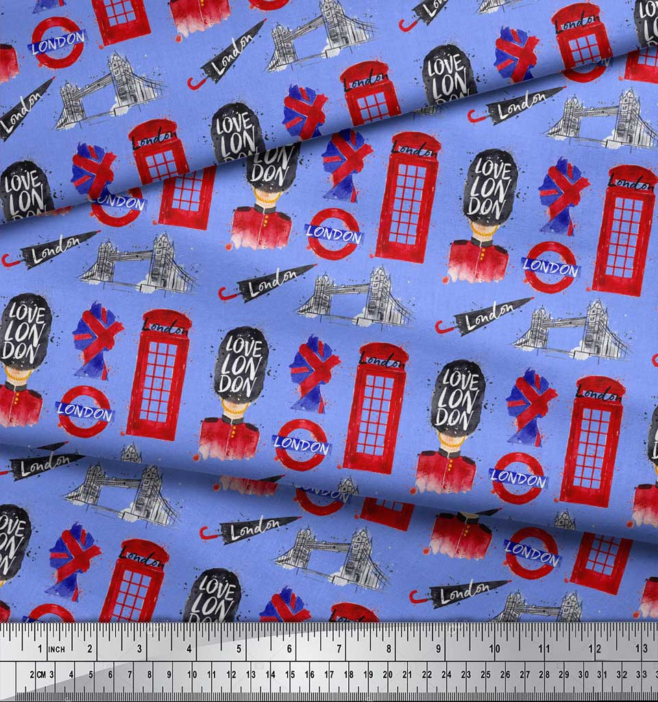 Soimoi-Blue-Cotton-Poplin-Fabric-London-Theme-Architectural-Printed-2X5 thumbnail 4