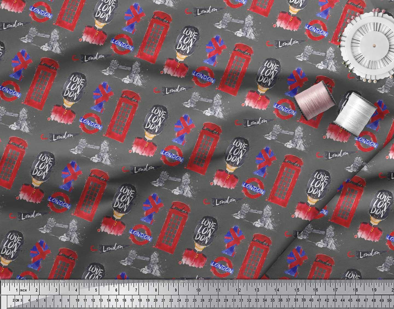 Soimoi-Gray-Cotton-Poplin-Fabric-London-Theme-Architectural-Printed-0CQ thumbnail 3