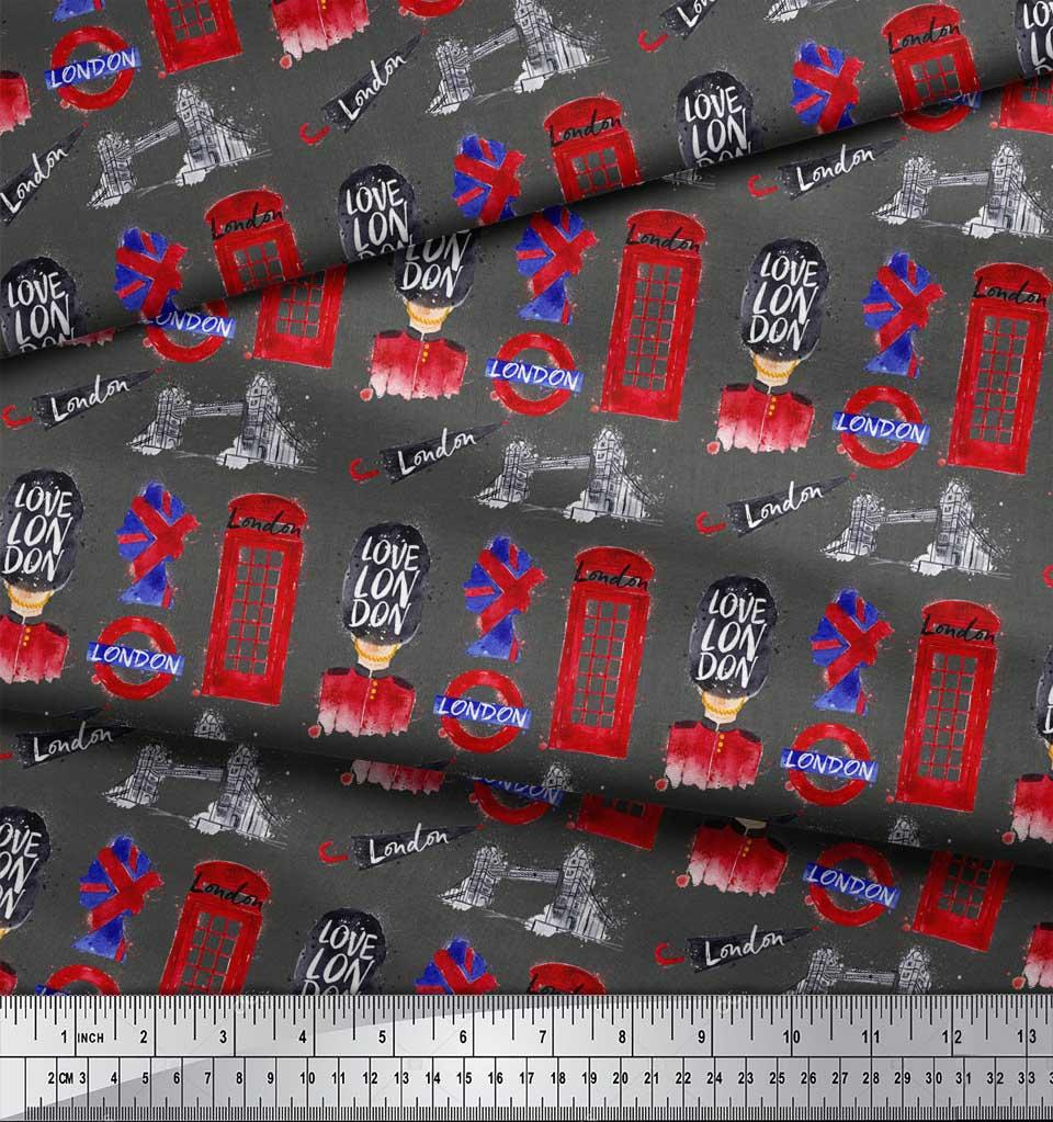 Soimoi-Gray-Cotton-Poplin-Fabric-London-Theme-Architectural-Printed-0CQ thumbnail 4