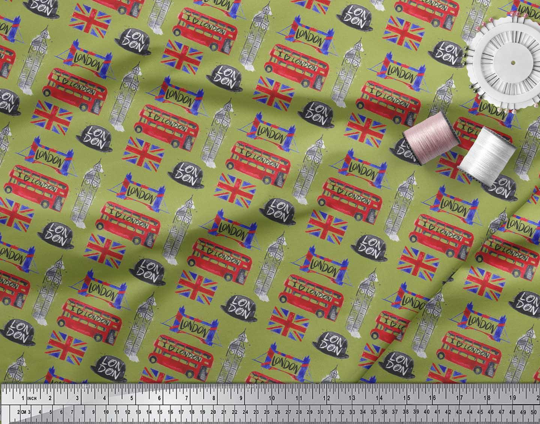 Soimoi-Green-Cotton-Poplin-Fabric-London-Theme-Architectural-Print-hYg thumbnail 3