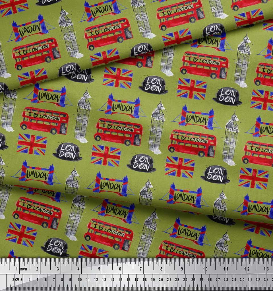 Soimoi-Green-Cotton-Poplin-Fabric-London-Theme-Architectural-Print-hYg thumbnail 4