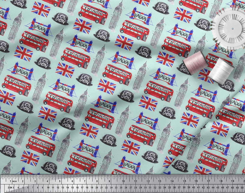 Soimoi-Green-Cotton-Poplin-Fabric-London-Theme-Architectural-Decor-9um thumbnail 3