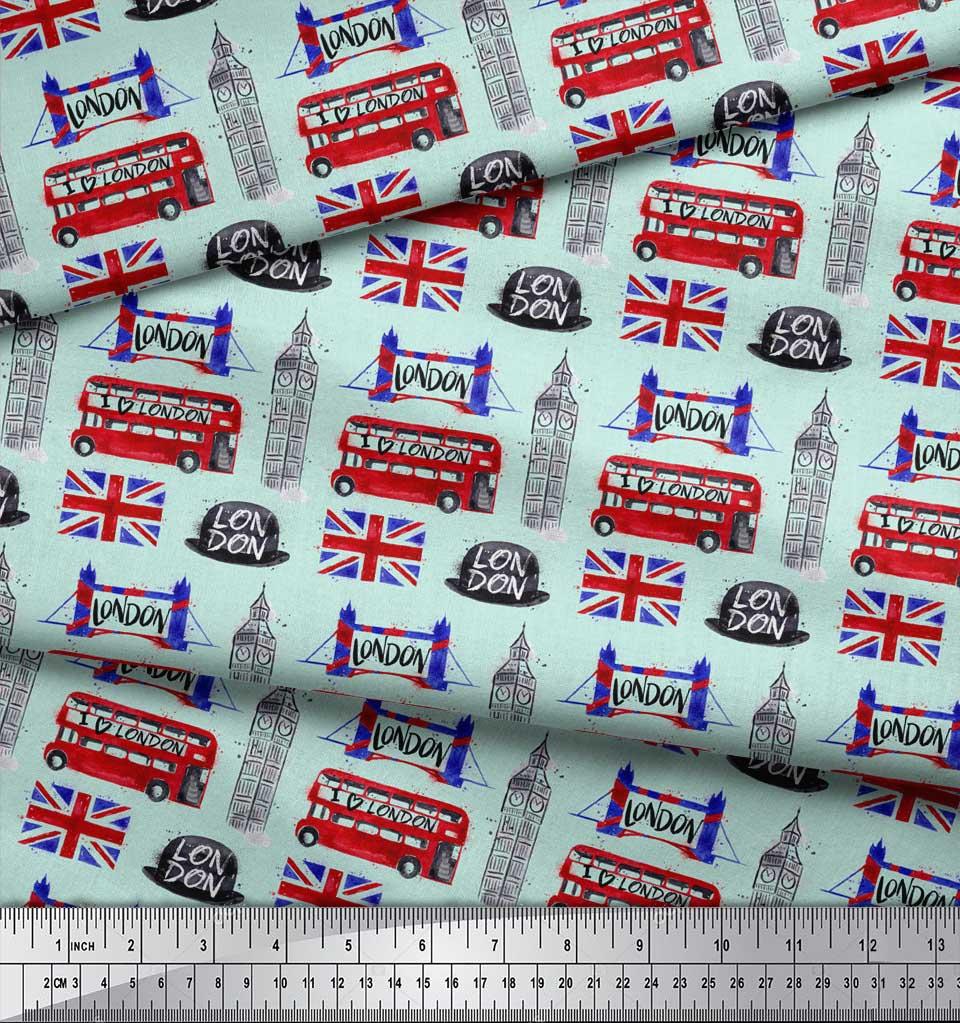 Soimoi-Green-Cotton-Poplin-Fabric-London-Theme-Architectural-Decor-9um thumbnail 4