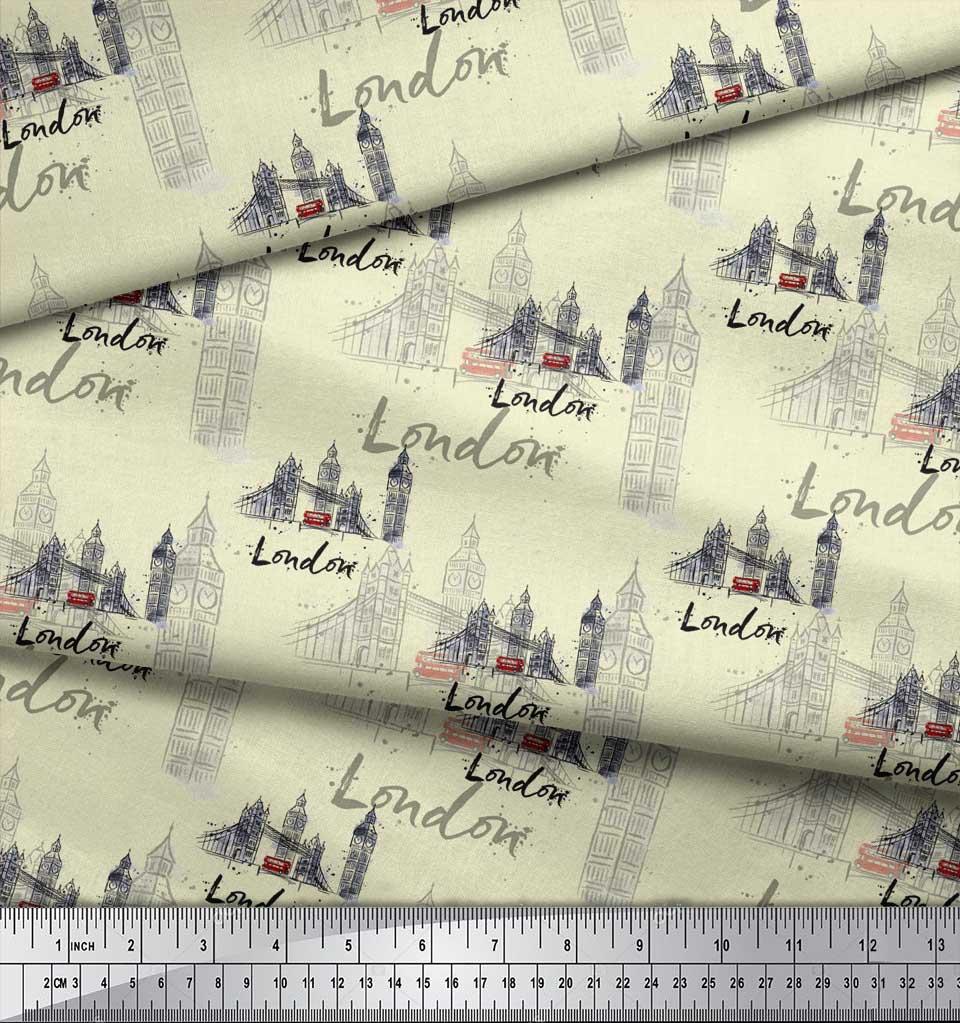 Soimoi-Yellow-Cotton-Poplin-Fabric-London-Theme-Architectural-Print-IOP thumbnail 3