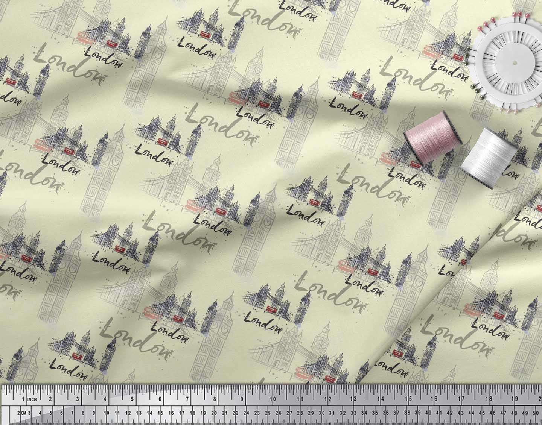 Soimoi-Yellow-Cotton-Poplin-Fabric-London-Theme-Architectural-Print-IOP thumbnail 4