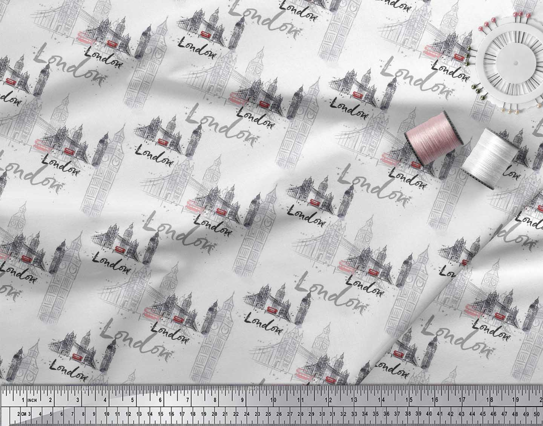 Soimoi-White-Cotton-Poplin-Fabric-London-Theme-Architectural-Print-MFu thumbnail 3
