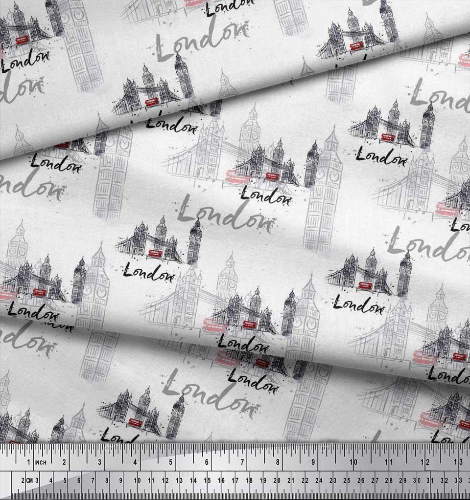 Soimoi-White-Cotton-Poplin-Fabric-London-Theme-Architectural-Print-MFu thumbnail 4