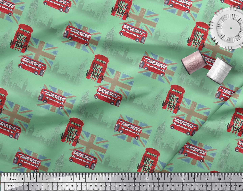 Soimoi-Green-Cotton-Poplin-Fabric-London-Theme-Architectural-Fabric-W7U thumbnail 3