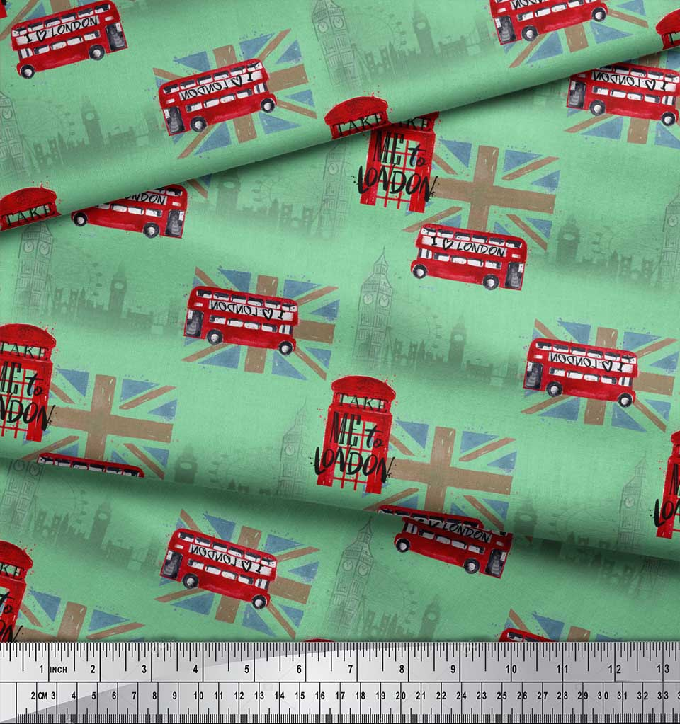 Soimoi-Green-Cotton-Poplin-Fabric-London-Theme-Architectural-Fabric-W7U thumbnail 4