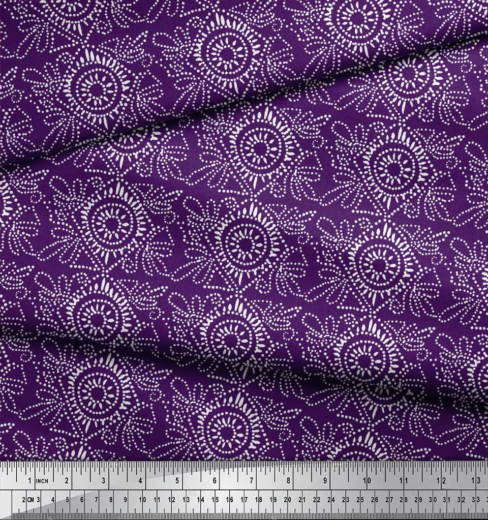 Soimoi-Purple-Cotton-Poplin-Fabric-Print-Block-Print-Sewing-Fabric-G81 thumbnail 3