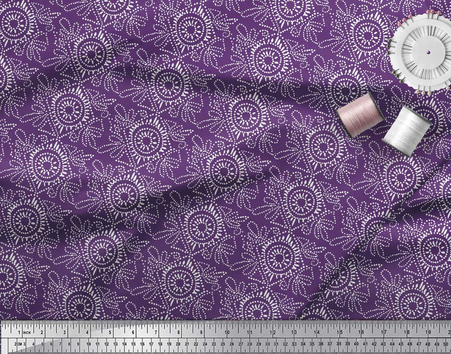 Soimoi-Purple-Cotton-Poplin-Fabric-Print-Block-Print-Sewing-Fabric-G81 thumbnail 4