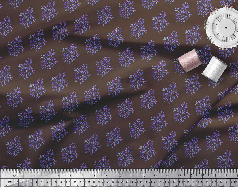 Soimoi-Brown-Cotton-Poplin-Fabric-Damask-Block-Print-Fabric-by-the-eHT thumbnail 3