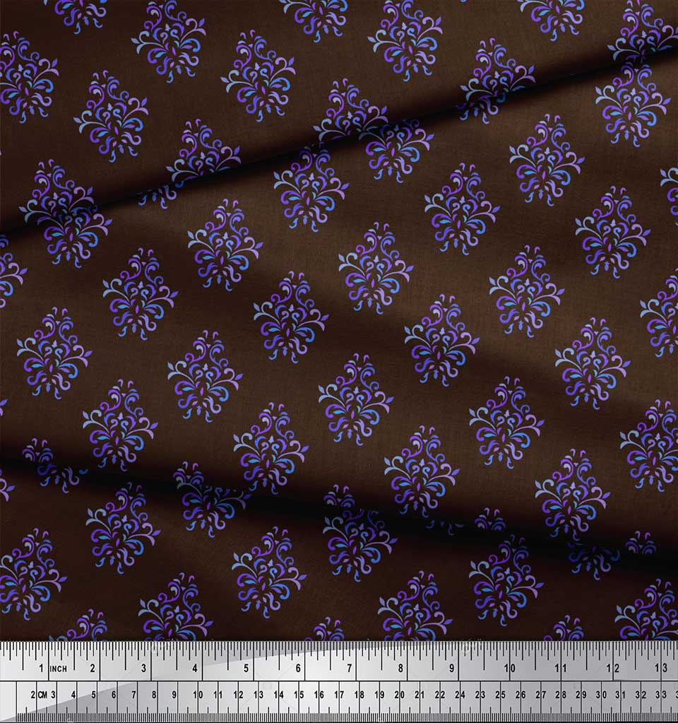 Soimoi-Brown-Cotton-Poplin-Fabric-Damask-Block-Print-Fabric-by-the-eHT thumbnail 4