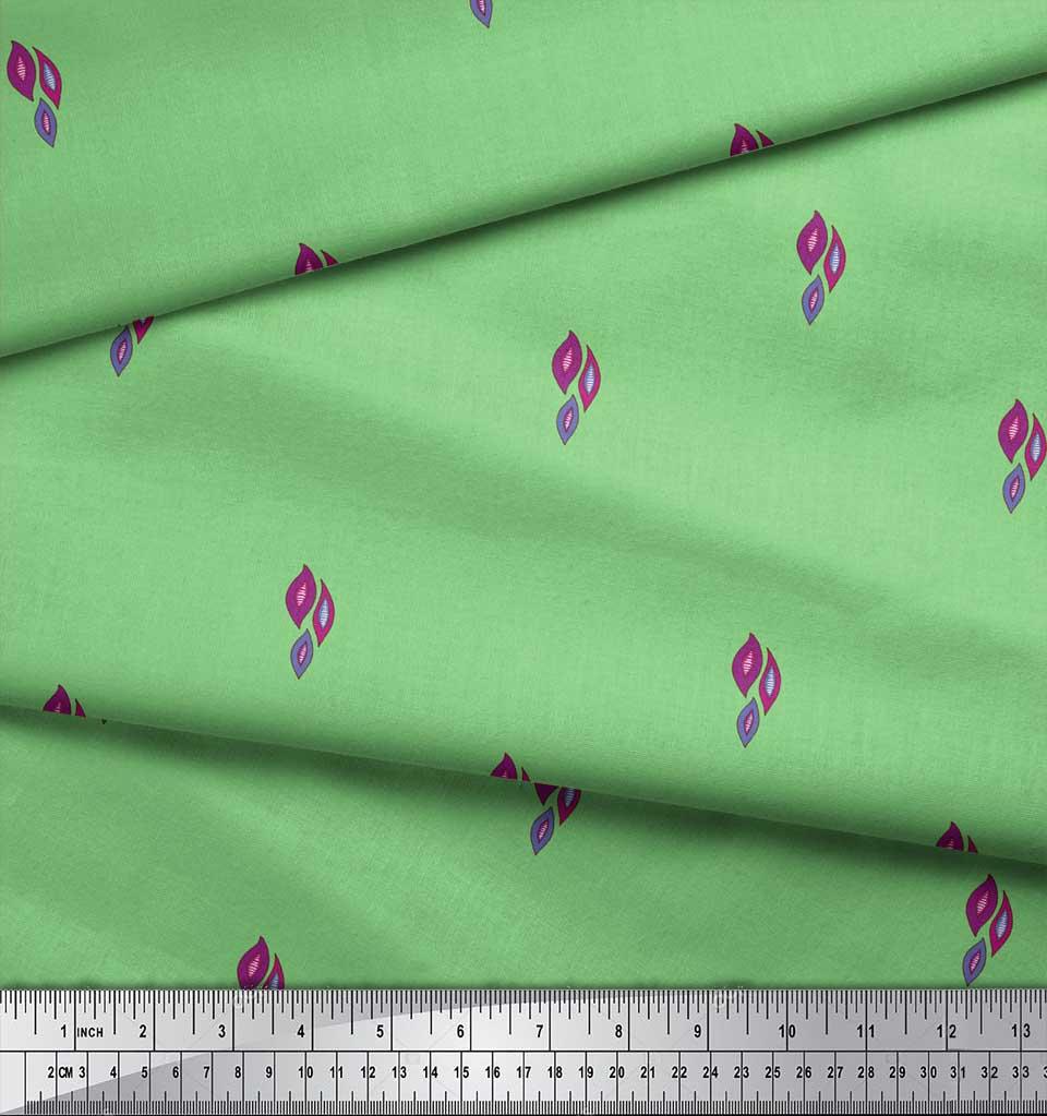 Soimoi-Green-Cotton-Poplin-Fabric-Leaves-Block-Print-Sewing-Fabric-1NM thumbnail 3