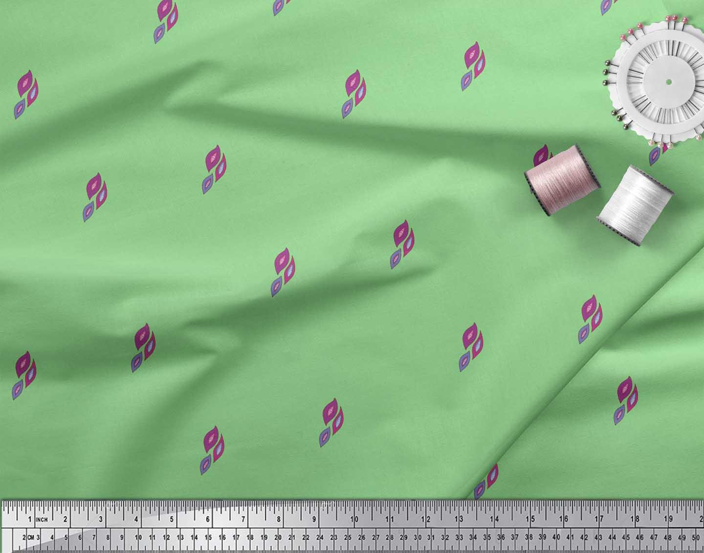 Soimoi-Green-Cotton-Poplin-Fabric-Leaves-Block-Print-Sewing-Fabric-1NM thumbnail 4