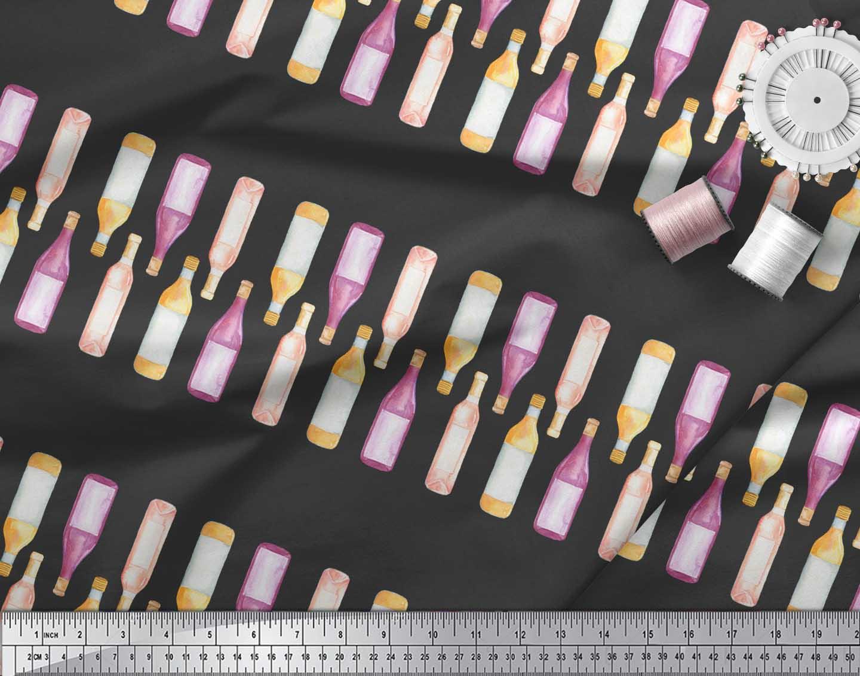 Soimoi-Black-Cotton-Poplin-Fabric-Bottle-Bar-Print-Fabric-by-the-QET thumbnail 4