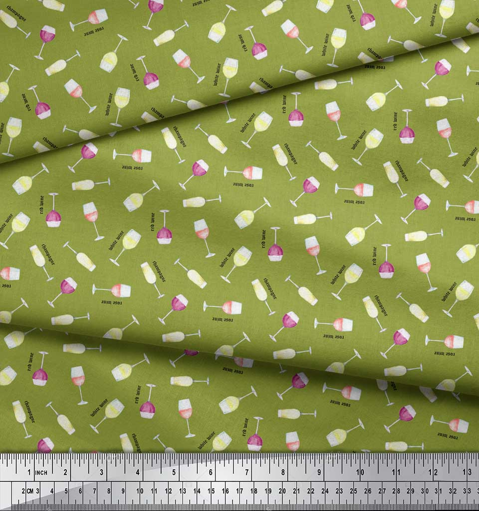 Soimoi-Green-Cotton-Poplin-Fabric-Text-amp-Wine-Glass-Bar-Print-Fabric-K5R thumbnail 3