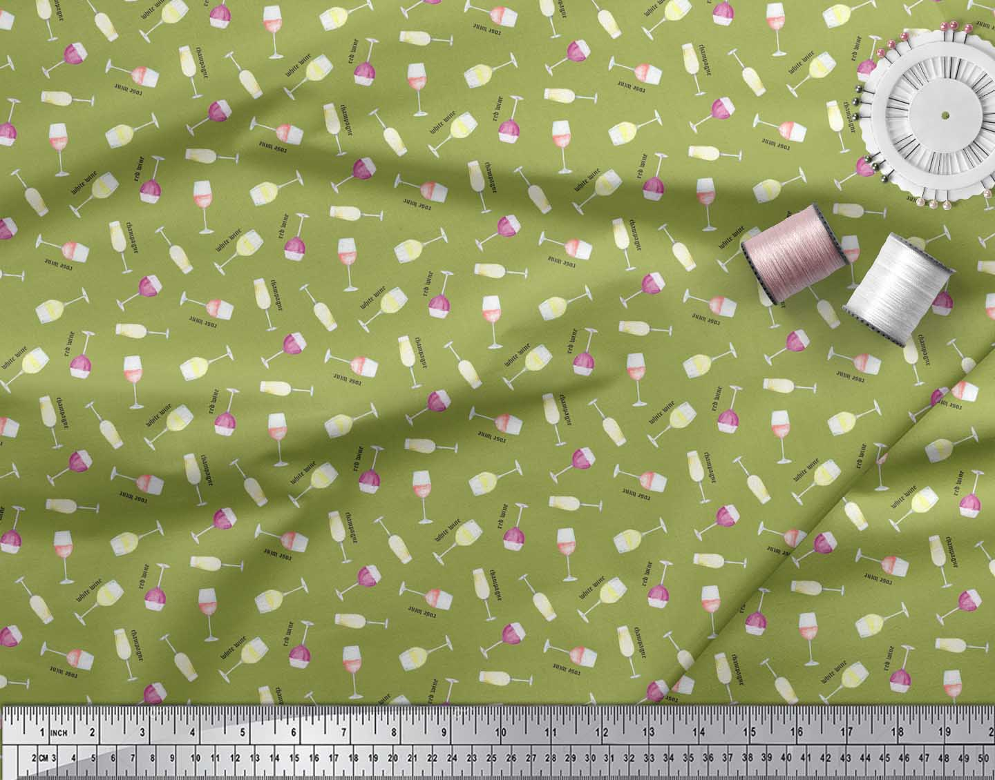 Soimoi-Green-Cotton-Poplin-Fabric-Text-amp-Wine-Glass-Bar-Print-Fabric-K5R thumbnail 4
