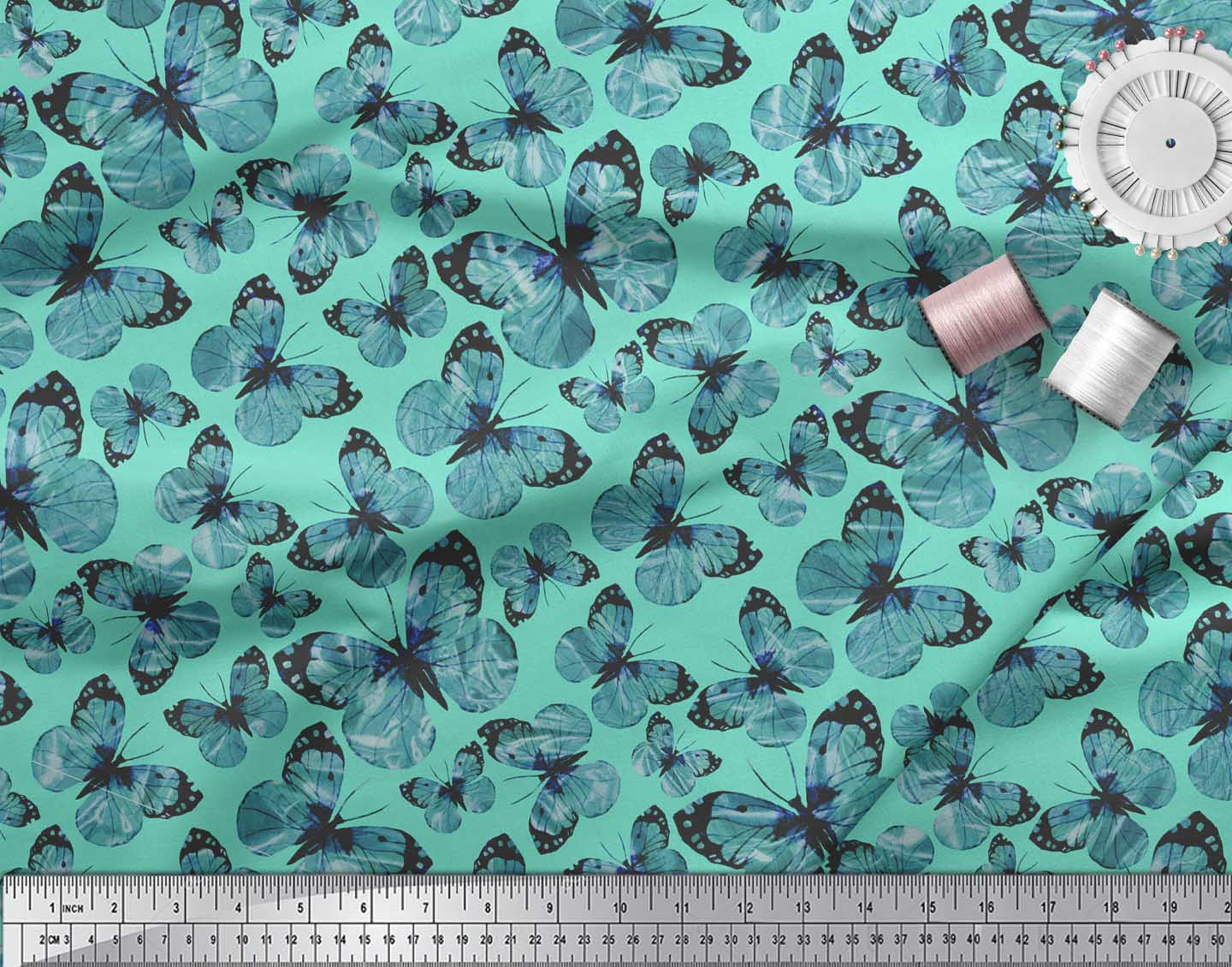 Soimoi-Green-Cotton-Poplin-Fabric-Butterflies-Butterfly-Print-Fabric-rwM thumbnail 4