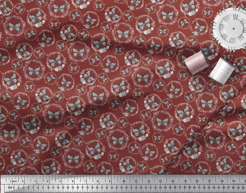 Soimoi-Red-Cotton-Poplin-Fabric-Wreath-amp-Butterfly-Printed-Fabric-w2o thumbnail 3