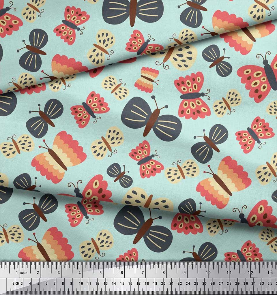 Soimoi-Green-Cotton-Poplin-Fabric-Insect-Insect-Printed-Fabric-1-1fJ thumbnail 3