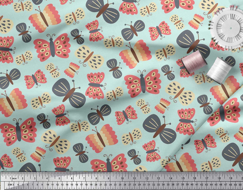 Soimoi-Green-Cotton-Poplin-Fabric-Insect-Insect-Printed-Fabric-1-1fJ thumbnail 4