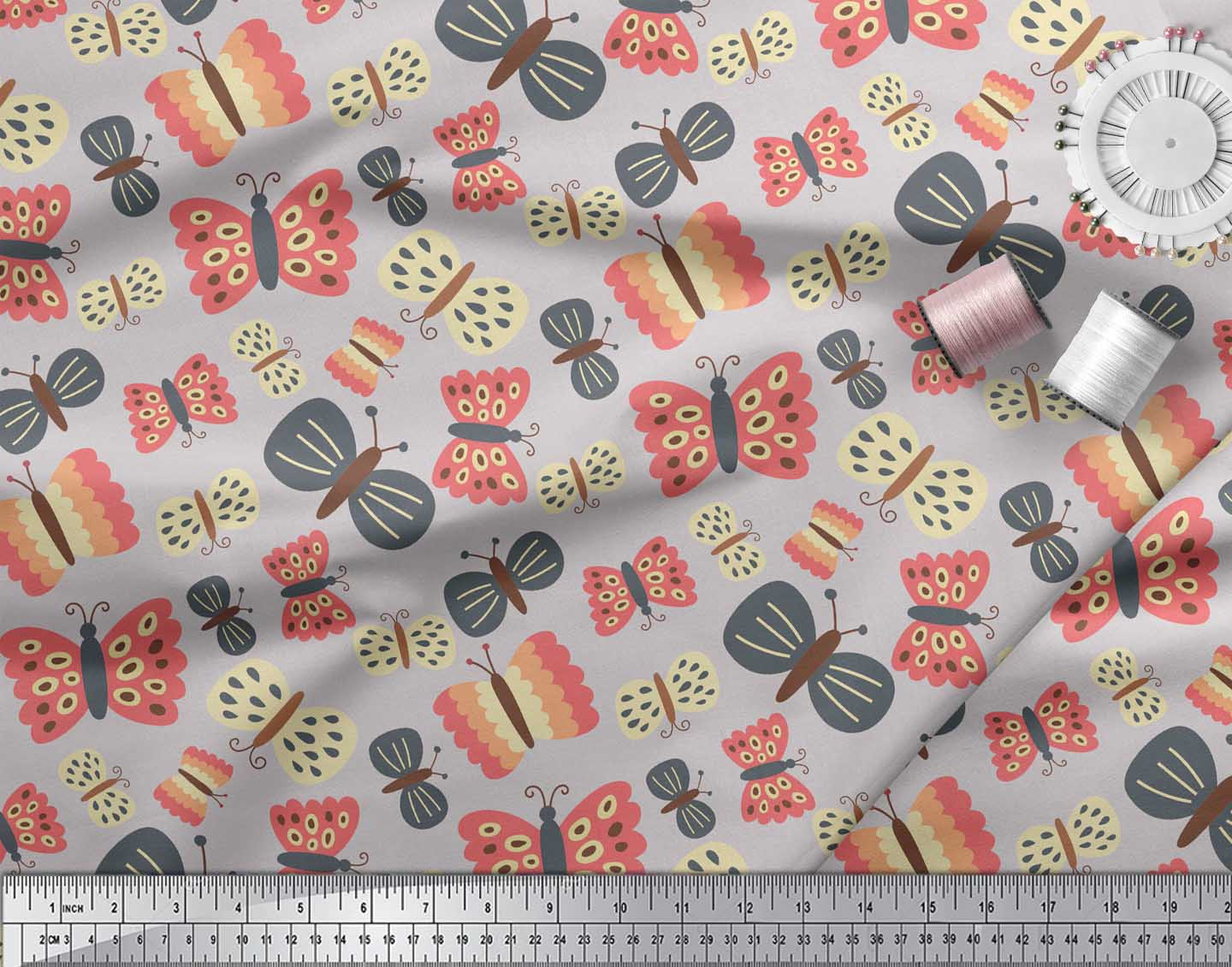 Soimoi-Gray-Cotton-Poplin-Fabric-Insect-Insect-Printed-Fabric-1-6GT thumbnail 4