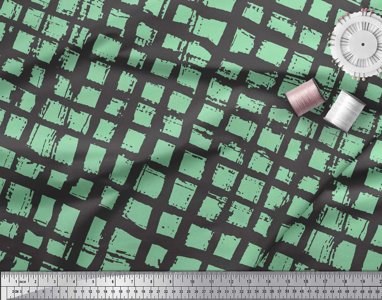 Soimoi-Green-Cotton-Poplin-Fabric-Check-Check-Decor-Fabric-Printed-wIJ thumbnail 3