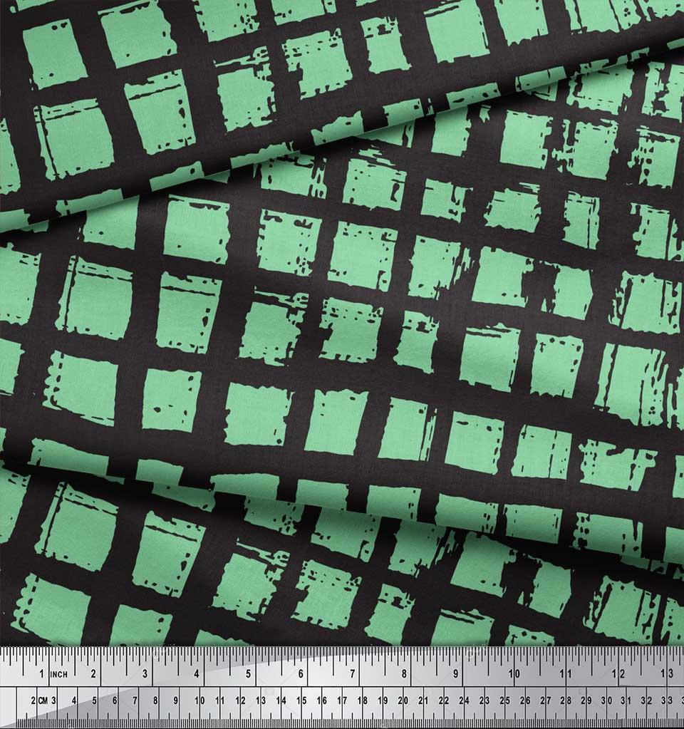 Soimoi-Green-Cotton-Poplin-Fabric-Check-Check-Decor-Fabric-Printed-wIJ thumbnail 4