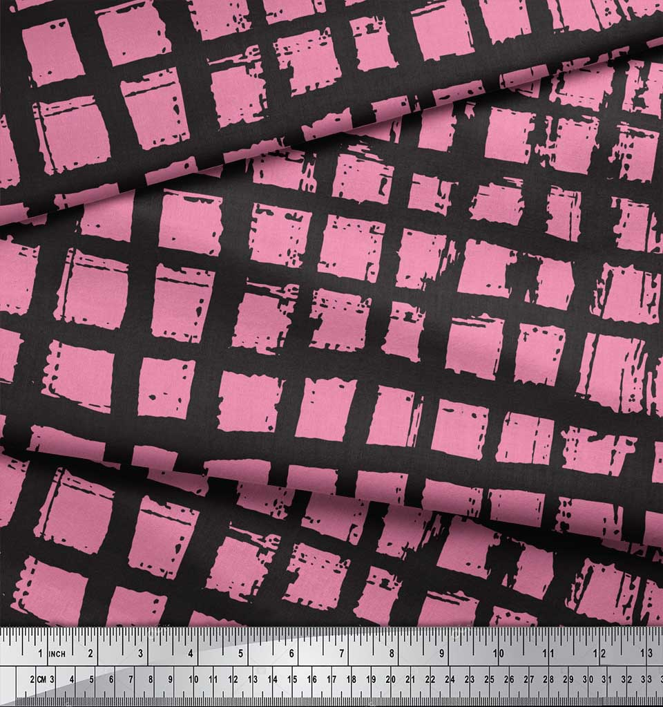 Soimoi-Pink-Cotton-Poplin-Fabric-Check-Check-Print-Fabric-by-metre-GvQ thumbnail 3