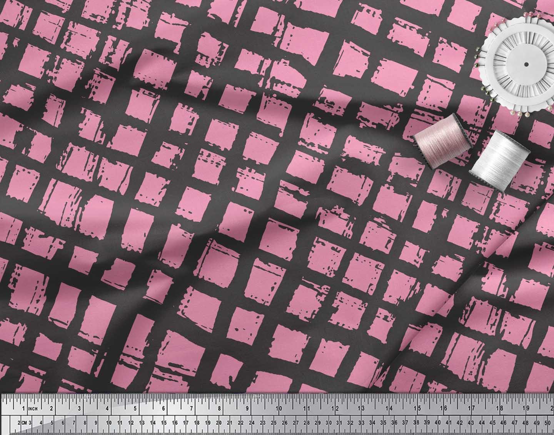 Soimoi-Pink-Cotton-Poplin-Fabric-Check-Check-Print-Fabric-by-metre-GvQ thumbnail 4