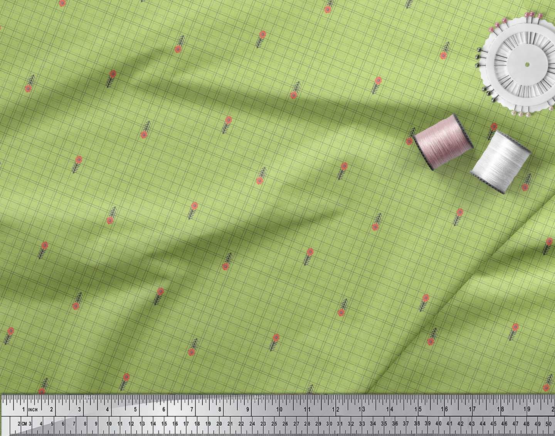 Soimoi-Green-Cotton-Poplin-Fabric-Floral-amp-Check-Print-Fabric-by-jrT thumbnail 3