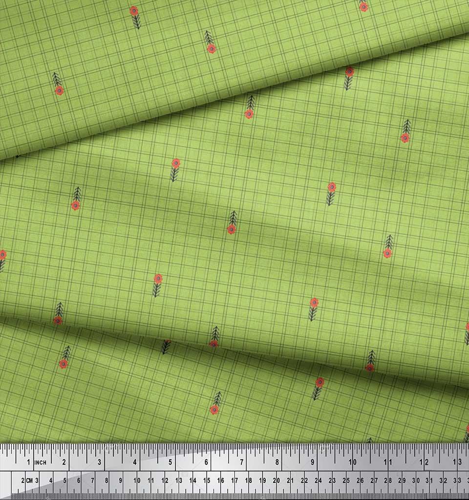 Soimoi-Green-Cotton-Poplin-Fabric-Floral-amp-Check-Print-Fabric-by-jrT thumbnail 4