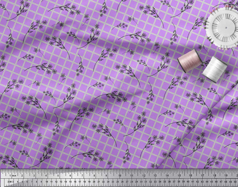 Soimoi-Purple-Cotton-Poplin-Fabric-Floral-amp-Check-Print-Fabric-by-gmz thumbnail 3