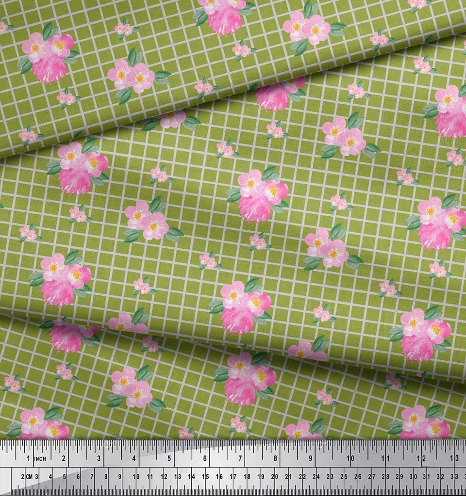 Soimoi-Green-Cotton-Poplin-Fabric-Pink-Flower-amp-Check-Fabric-Prints-53T thumbnail 3