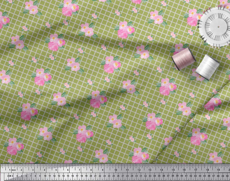 Soimoi-Green-Cotton-Poplin-Fabric-Pink-Flower-amp-Check-Fabric-Prints-53T thumbnail 4